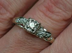 """Vintage Engagement Ring: """"Eternal Love"""" Tudor Rose Illusion Head  MISC INFO:  Time Period: Retro 1940s, Mid Century Modern  Country of Origin: USA  Purpose: Engagement Ring"""
