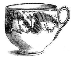 Vintage Tea Clip Art - Fancy Teacups - The Graphics Fairy
