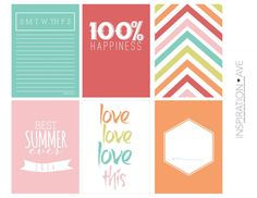 Free Summer Journal Cards for Project Life