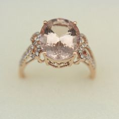 VS 7x9mm Morganite Ring Wedding Ring Diamond Ring by AbbyandWills