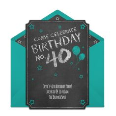 "One of our favorite 40th birthday party invitations, ""Chalkboard Forty."" Easily personalize and send via email for a milestone birthday celebration."