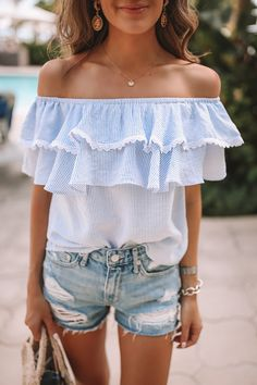 off-the-shoulder ruffles