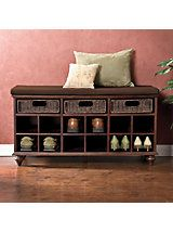 Chelmsford Shoe Bench | Solutions   Create an inviting entryway, not one with shoes piled up at the door. Twelve cubbies have room for 6 to 12 pairs, while three rattan drawers offer storage for scarves, gloves, the dog leash and more.  Hardwood with maple veneer