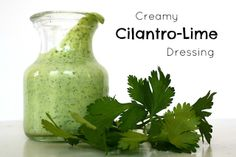 Creamy Cilantro-Lime Dressing. Healthy and great on salads, wraps, drizzled on tacos, or as a fun, flavorful veggie dip