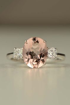 18ct white gold 2ct Morganite ring with 0.4ct of diamonds http://www.christinesadler.com/engagement-rings/morganite-and-diamond-white-gold-ring