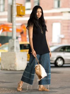 aurora james brother vellies labor day of love denim jeans street style garance dore photos Streetwear, Wide Leg Denim, Style Snaps, Chor, Street Chic, Spring, What To Wear, Style Me, Autumn Fashion