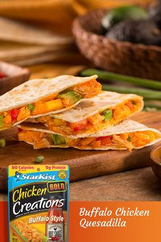 StarKist Chicken Creations Buffalo Style adds just the right amount of spice to make your quesadillas perfect. Mix in with Chicken Creations Buffalo Style Chicken with your favorite veggies and pan fry in a tortilla for a delicious family dinner. Seafood Recipes, Mexican Food Recipes, Chicken Recipes, Vegetarian Recipes, Cooking Recipes, Healthy Recipes, Diet Recipes, Recipies, Clean Eating Vegetarian