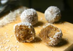 Cinnamon sunbutter snowballs....  no bake healthy fats snack for mom and kids!