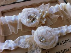 Bridal Garter set Ivory with Pearls, Crystals and Rhinestones Customize-able to match you Wedding colors