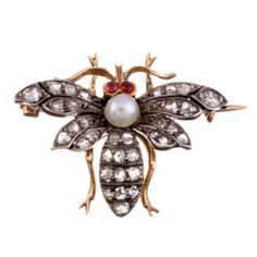 Whimsical Victorian Rose Cut Diamond and Ruby SIlver/Gold Bee