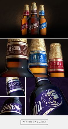 Bohemia Beer — The Dieline - Branding & Packaging. - a grouped images picture - Pin Them All Beer Packaging, Beverage Packaging, Brand Packaging, Bohemia Beer, Beer Bottle, Whiskey Bottle, Fun Drinks, Package Design, Craft Beer