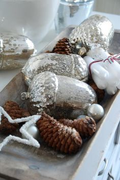 Christmas Decorating with silver acorns & a doughbowl