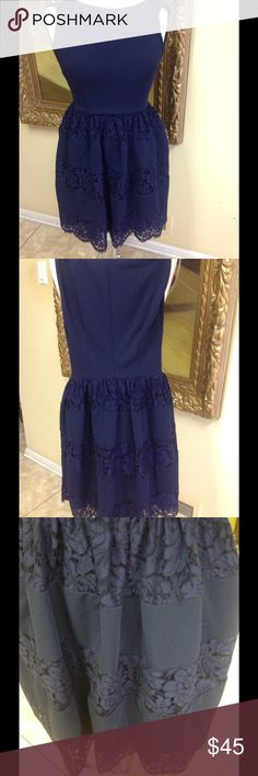 Betsy Johnson Dress Size 2 Adorable navy dress by Betsy Johnson size 2. Zip back, lace bottom, beautiful thick cotton fabric, low price. Betsey Johnson Dresses Mini