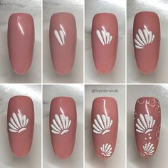 Nail art Christmas - the festive spirit on the nails. Over 70 creative ideas and tutorials - My Nails Nail Art Hacks, Gel Nail Art, Nail Art Diy, Beach Nail Art, Beach Nail Designs, Sea Nails, Nagel Bling, Nail Drawing, Nail Art Techniques