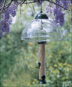 """Squirrel Guard - 15"""" dia. adjustable polycarbonate dome. Shown here with a Super Seed Feeder, sold separately."""