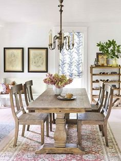 Cozy Atmosphere:  The open dining area feels homier, thanks to a large rustic dining table and chairs from Cost Plus World Market that will easily seat a family of four as well as visiting loved ones.