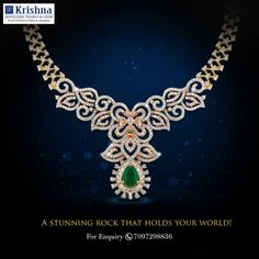 Make an appealing entrance, with this charming #diamond and #emerald necklace. For any product-related queries, call us on 7097298836 or visit our store at Road No. 36, Jubilee Hills, Hyderabad.