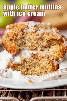 "Big, bakery style Apple Butter Streusel Muffins have a layer of apple butter and crumb streusel, with an apple cider glaze on top.  Muffins are one of my many favorite morning breakfasts. I love waking up remembering there is a new ""Lizzy T's"" muffin waiting for me to savor. Especially if it has apple butter and streusel. Best Apple Recipes, Apple Desserts, Apple Butter, Morning Breakfast, Apple Cider, Glaze, Main Dishes, Muffins, Bakery"