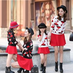 Mother & Kids Spring and Autumn Girls Clothing Set Cartoon Princess Print Girls Tops + Girls Skirts Mother Daughter Dresses