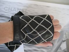 Chanel CC Logo Black Leather Fingerless Silver Chain Gloves