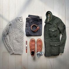 Outfit grid - Chunky knit & jeans