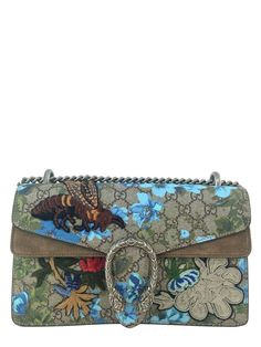 Gucci Painted Flowers and Patches GG Supreme Small Dionysus Shoulder Bag NEW #Gucci #ShoulderBag