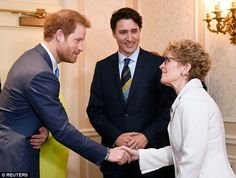 Prince Harry shakes hands with Ontario Premier Kathleen Wynne at the hotel where the launch was held