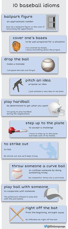english idioms related to baseball game English Tips, English Idioms, English Writing, English Study, English Words, English Lessons, English Vocabulary, English Grammar, Teaching English