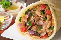 #Chicken #Shawarma: Lebanese bread stuffed with chicken served with Yoghurt dip https://goo.gl/dyjVal