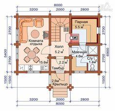 Фото 2: проект дом-баня с двумя спальнями 5.6х8.2 м