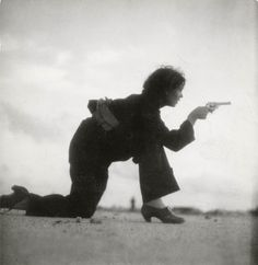 Gerda Tar • Republican militiawoman training on the beach outside Barcelona in 1936, taken by Gerda Taro