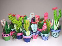 Faux cacti - make for kids' teachers