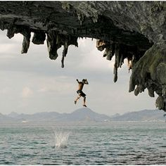 Deep water soloing - ocean, cliff face, no ropes...