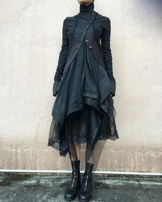 Marc Le Bihan Double Layers Jacket And Skirt Guidi Front Zip Horse Leather Boots Long Sleeve Cotton Dress, Cotton Dresses, Dark Fashion, Gothic Fashion, Fashion Fashion, High Fashion, Fashion Trends, Mode Sombre, Fashion Vestidos