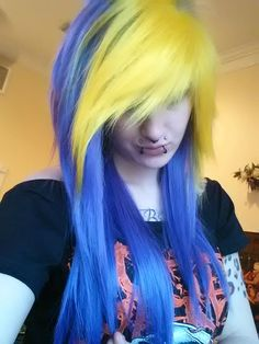 yellow and purple wig // emo girl scene punk gothic raver // bangs // ombre long bangs // two tone on Etsy, $119.99