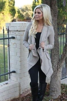 waterfall cardigan, all black outfit, tall black boots