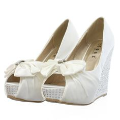 Embellished Wedge Wedding Shoes  - WOMENS DIAMANTE EMBELLISHED WEDGE HEEL SATIN WEDDING BRIDAL PROM SHOES ...