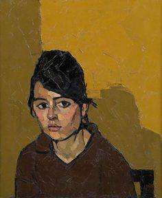 "Kyffin Williams ""German Girl"" 1963 oil on canvas 61x51cm"