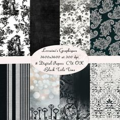 Black Toile Time:  Antique French Toile Digital Paper Background Pack