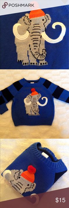 ⛅️Wooly Mammoth Sweater with 12/18 Months⛅️ Wooly Mammoth Pom Pom Sweater in a Size 12/17 Months No Stains - Holes - Pills and it's Super Duper Cute! Gymboree Shirts & Tops Sweaters