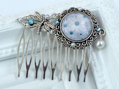 Elegant flower hair comb in silver with blue flowers in white, dragonfly hair comb, shell pearl, antique hair comb, hair jewelry summer - pinned by pin4etsy.com