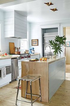Ginny Stimpson's Bay House in Fairhope, AL Blue Kitchen