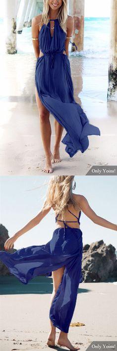 Sleeveless Back Lace-up Side Split Beach Maxi Dress In Blue