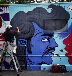 Al Ortiz jr. at work in NYC - east village, lower east side - 2014 (LP)