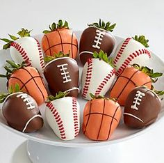 chocolate covered strawberries. basket ball, baseball, & football.  boyfriend or happy father's day gift?