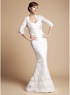 Trumpet/Mermaid Sweetheart Floor-Length Satin Lace Wedding Dress