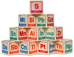 Periodic Table Building Blocks - Think Geek Periodic Table Blocks, Cubes, Geek Toys, Baby Blocks, Future Baby, Baby Toys, Baby Baby, Middle School, High School