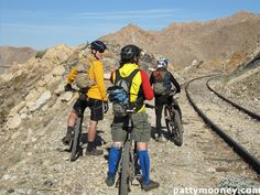 """Mountain bikers at Carrizo Gorge, """"The Impossible Railway"""" - Photo by Patty Mooney of San Diego video production company Crystal Pyramid Productions - http://sandiegovideoproduction.com/video-producers/patty-mooney/"""