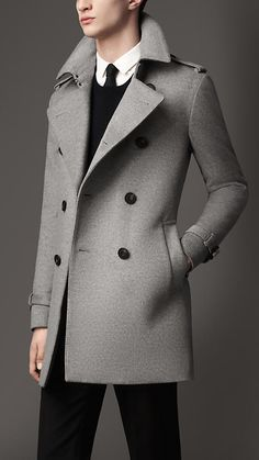 Shop for Mid-length Wool Cashmere Trench Coat by Burberry at ShopStyle. Trench Gris, Trench Coats, Madrid, Men's Coats And Jackets, Jackets For Women, Mens Dressing Styles Casual, Man's Overcoat, Top Mode, Smart Casual