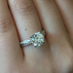 Quilted Diamond Engagement Ring with a ravishing diamond twisted shank featuring approximately 0.26ctw of accent diamonds
